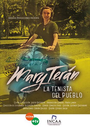 Afiche Mary Terán, la tenista del pueblo, telefims, documental Rosaria Producciones